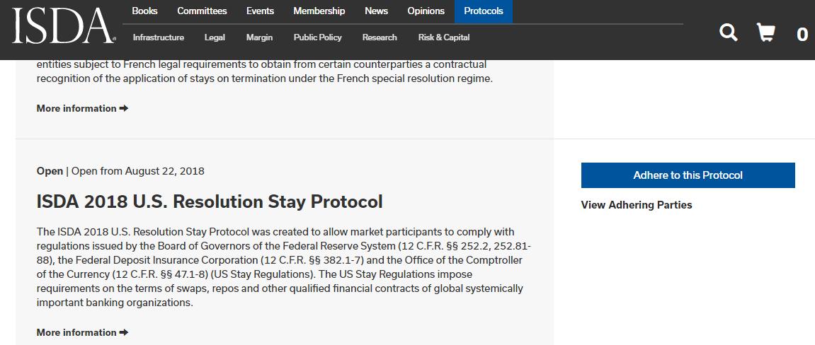 ISDAプロトコル-米国ステイ規制