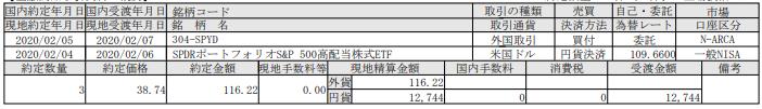 米国株式ETF購入-SP500高配当株式ETF(SPYD)