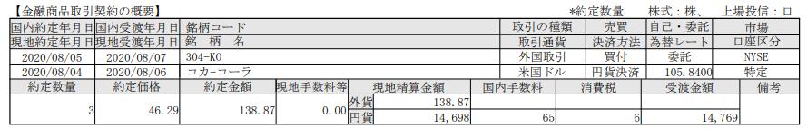 米国株追加投資-コカコーラ(KO)_20200807
