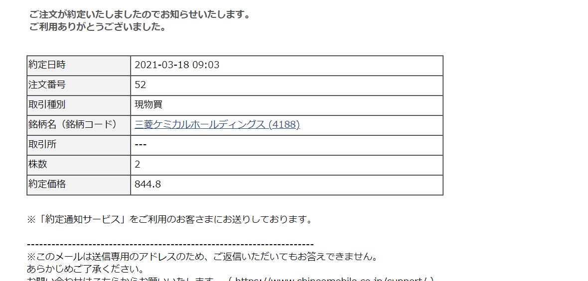 SBIネオモバイル証券でTポイント株式投資-三菱ケミカル(4188)定期購入_2021年3月