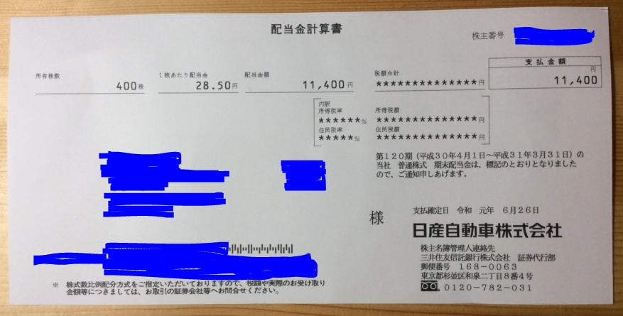 株式配当!-日産自動車(日本株)190627