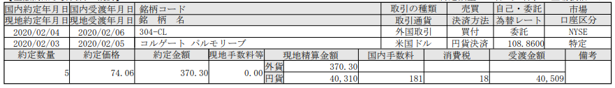 米国株購入-コルゲートパルモリーブ(CL)_20200206