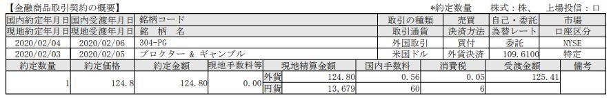 米国株購入-プロクターアンドギャンブルP&G(PG)_20200206