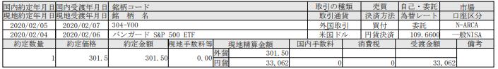 米国株式ETF購入-バンガードS&P500ETF(VOO)_200207