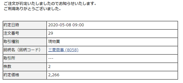 SBIネオモバイル・Tポイントで株式投資-月次購入報告-三菱商事(202005)