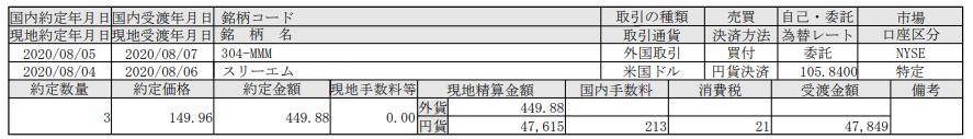 米国株投資追加購入-スリーエム(MMM)_20200807