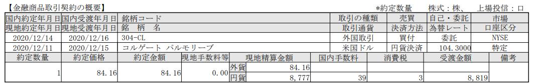米国株式追加購入!コルゲートパルモリーブ(CL)_201216