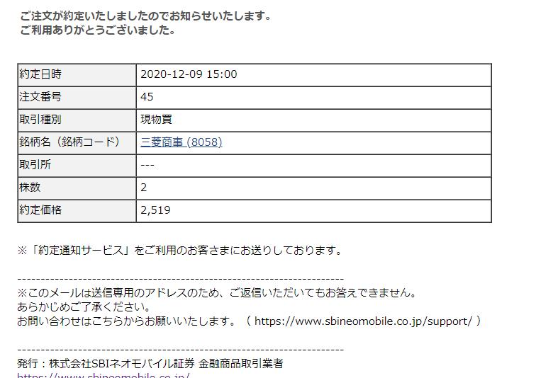 SBIネオモバイルでTポイント株式投資!【三菱商事(8058)】20/12